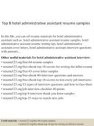 top8hoteladministrativeassistantresumesamples 150529143030 lva1 app6892 thumbnail 4 jpg cb 1432909875