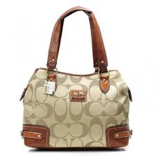Coach Hamptons In Printed Signature Large Khaki Totes ANJ
