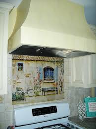 french country mural and custom hood
