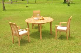 4 pc grade a teak wood dining set 52 round table and 3