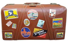 vintage luggage. once a label had been applied to suitcase, it was not coming off. therefore the vintage luggage labels that exist today were never stuck on trunk or h