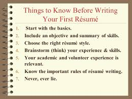 ... Classy Ideas How To Write Your First Resume 9 How Write First RAsumA ...