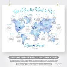Wedding Seating Chart Plan Printable Custom Watercolor World Map