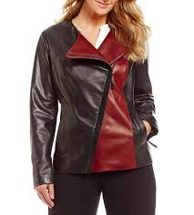 preston york color block asymmetric zip genuine leather jacket