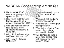 Nascar is pure advertising for them, nothing more. Nascar Article Questions