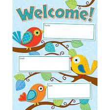 Chart For School Boho Birds Welcome Chart