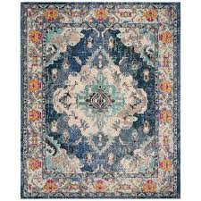 monaco navy light blue 8 ft x 10 ft area rug