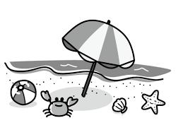 ビーチとカニや貝などの白黒イラスト かわいい無料の白黒イラスト モノ