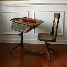 old rustic school desk