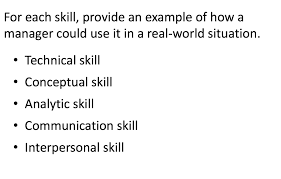 Analytic Skill Solved For Each Skill Provide An Example Of How A Manage
