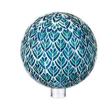 blue and green mosaic peacock gazing ball
