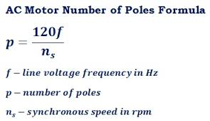 formula to calculate number of poles of an ac induction motor