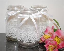 How To Decorate A Glass Jar 100 x Lace Ribbon Glass Jars Vases Vintage Rustic Chic Wedding Table 42