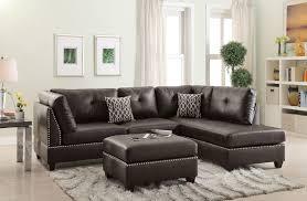 espresso bonded leather 3pcs sectional sofa set living room sofa chaise ottoman accent trim silver stud com