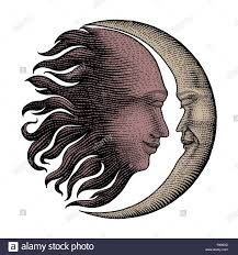 Face In Sun And Moon Hand Drawing Vintage Engraving Money Line
