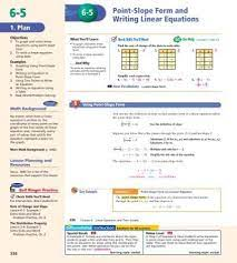 6 5 point slope form and writing linear