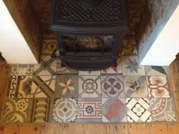 patchwork tiled fireplace