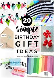 a collage of 20 simple birthday gift ideas