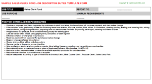 Clerk Food Job Description Sales Clerk Food Job Description