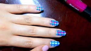 Super cute plaid inspired nail art: light blue, dark blue and ...