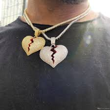 broken heart pendant necklace for men boy red enamel micro pave cz big heart charm hip hop bling iced out mens chain necklaces canada 2019 from yijewelry