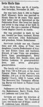 Obituary for Sevie Merle Sims, 1904-1997 (Aged 93) - Newspapers.com