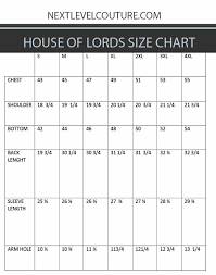house of lords men size chart