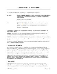 Confidentiality Agreement Samples Confidentiality Agreement Template Sample Form Business In A Box