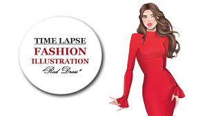 Red Dress Fashion Illustration Speed Drawing Youtube