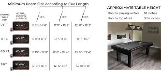 Pool Table Sizes Chart Room Size Specifications Olhausen Billiards