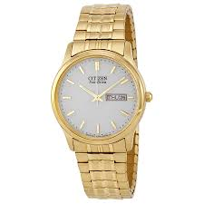 citizen mens bracelet eco drive flexible band gold tone watch zoom