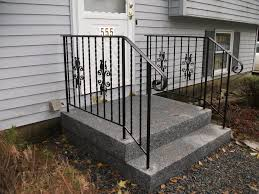 Wrought Iron Handrails Exterior Simple Outdoor Stair Railing Designs Using Black