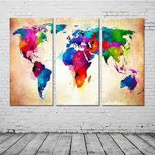 2018 3 panel colorful world map paintings oil painting print on canvas home decor wall art picture for living room from homecanvasart 23 04 dhgate com
