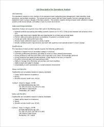 business operations analyst job description benefits analyst job description