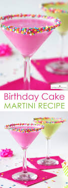 How to make a colorful Birthday Cake Martini with rainbow sprinkles. An  easy cocktail recipe