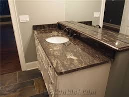 traditional master bath dual vanity top with polished midnight sun schist material