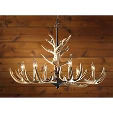 castlecreek 6 light whitetail antler chandelier