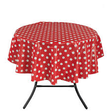 round indoor and outdoor red polka dot design table cloth for