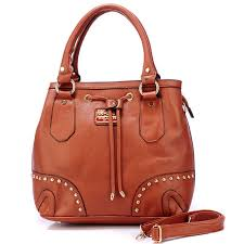 Coach Drawstring In Stud Medium Brown Satchels BDP