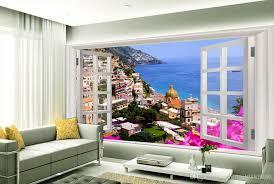 Hohe Qualität Anpassen Größe M3d Windows Fenster Landschaft Meer Wand Brücke Tv Wand Oder Wandbild 3d Wallpaper Tapeten Für Tv Hintergrund