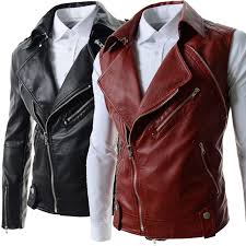new arrivals 2016 men s leather jackets couro masculino er biker slim leather jackets for men male outerwear black red mens leather jackets long sleeve