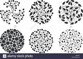 Simple Elegant Design Vector Simple Elegant Round Floral Design Set Stock Vector