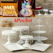 6pcs Set White Gold Crystal Pearl Metal Cake Stand Cupcake Dessert