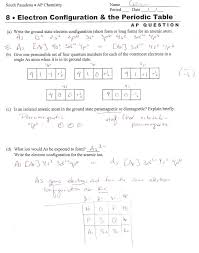Chemistry Electron Configuration Worksheet Answers