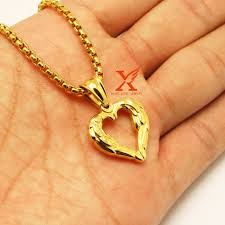details about 24 latest new design gold plated angel wing puffy heart charm pendant necklace