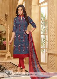 Marvelous Stone Blue Red Embroidered Mandarin Collar Churidar Suit