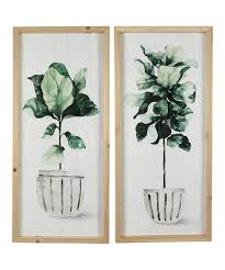 botanical potted plant wall art set