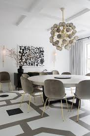 white and gray painted dining room floors