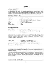 Resume Example For Job Application In Malaysia Resume Ixiplay