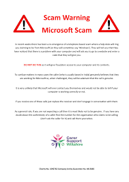 carer support wiltshire north bradley computer club scam warning